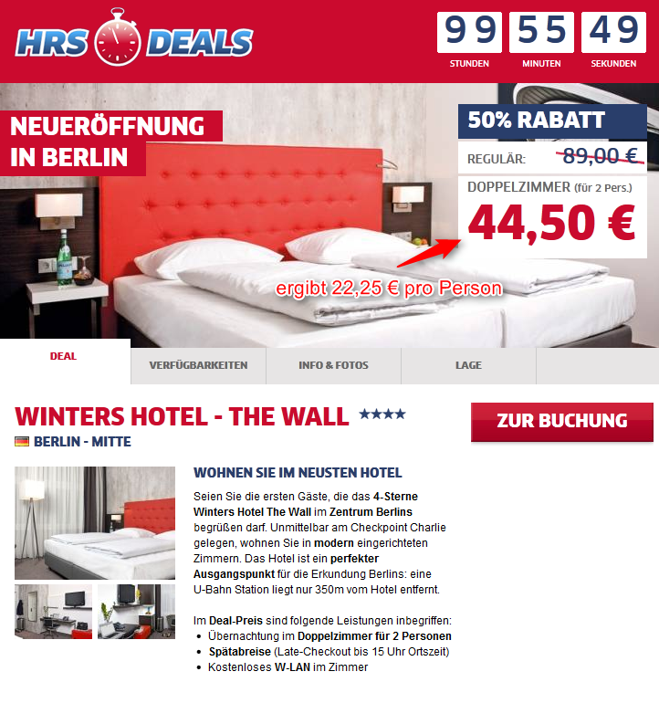 4-Sterne Hotel Winters The Wall Berlin Angebot
