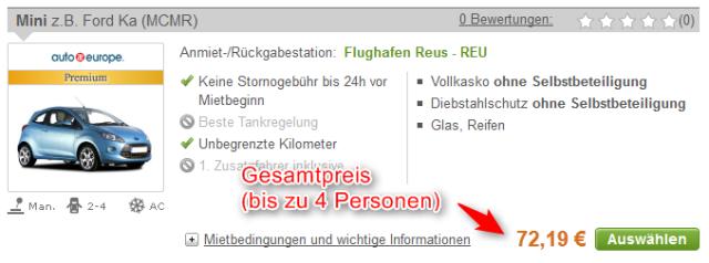 Mietwagen-Angebot ab Flughafen Reus bis 4 Personen 1