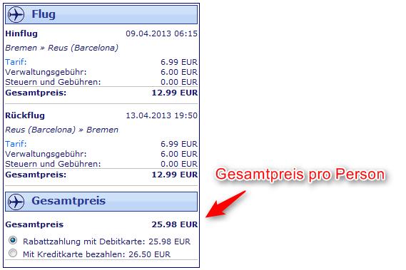 Ryanair Flugangebot von Bremen nach Barcelona-Reus gesamtpreis 4