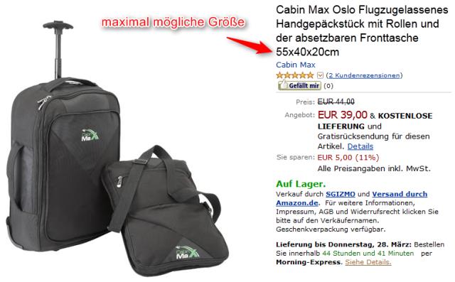 Cabin-Max für maximale Handgepäck-Größe 1