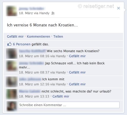 Facebook-Meldung Ich verreise 6 Moante nach Kroatien
