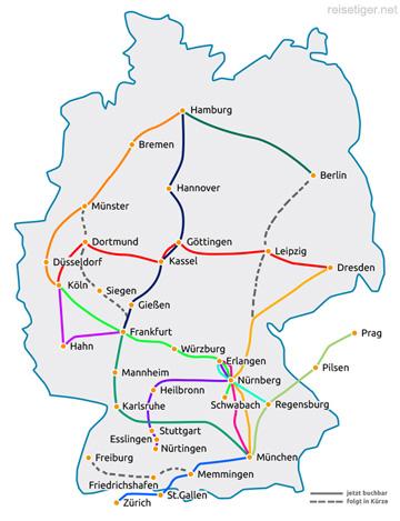 Fernbus-Liniennetz Karte flixbus klein