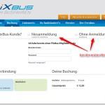 Flixbus Bestellung login Benutzername