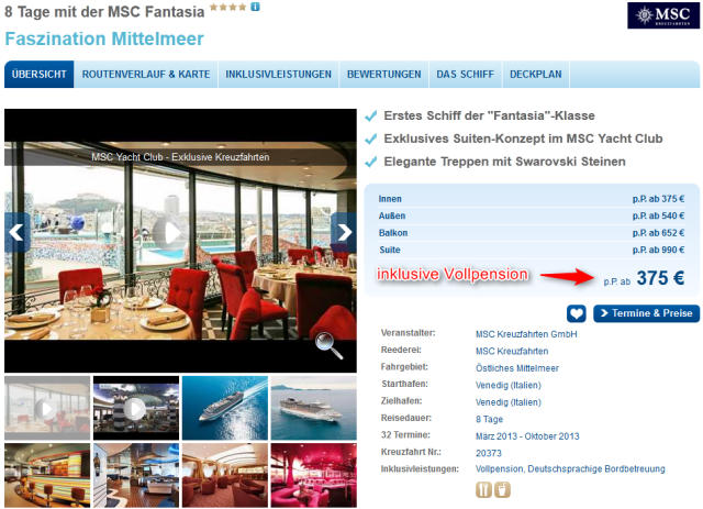 Mittelmeer-Kreuzfahrt MSC Preis