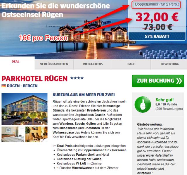 Ruegen Parkhotel Deal HRS Doppelzimmer halber Preis