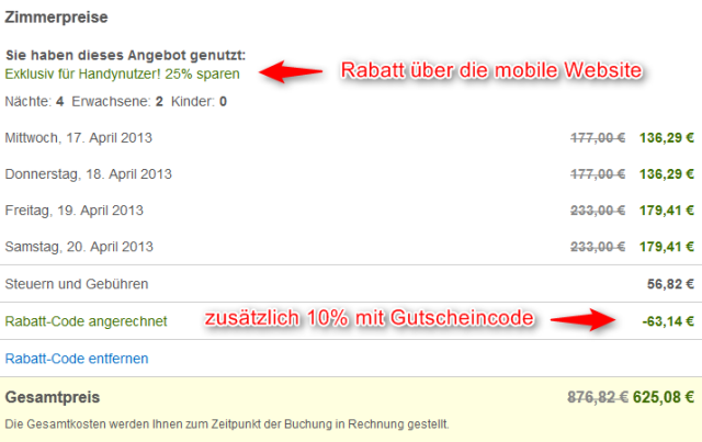 hotelscom Rabattcode ueber mobile Website