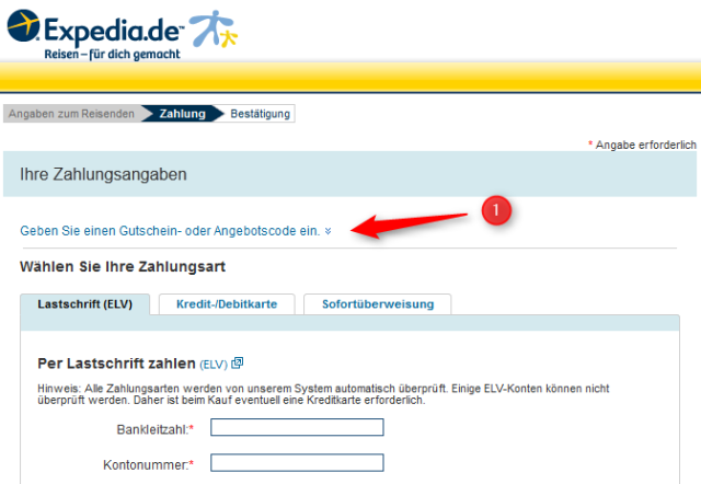 expedia zahlung