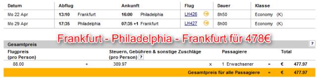 Frankfurt-Philadelphia-Frankfurt Aktionspreis Lufthansa
