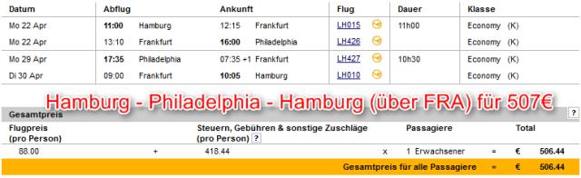 Hamburg-Philadelphia-Hamburg günstig mit Lufthansa