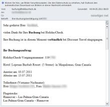 HolidayCheck Buchungsbestätigung E-Mail
