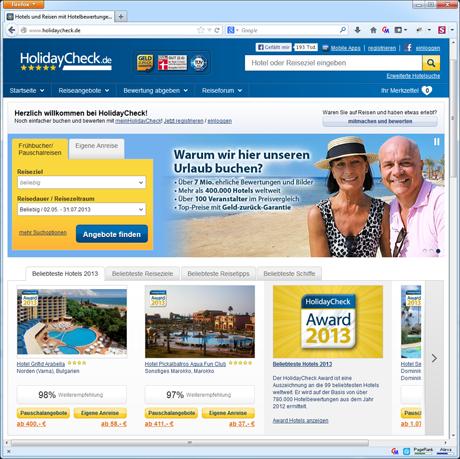 HolidayCheck Startseite Sceenshot