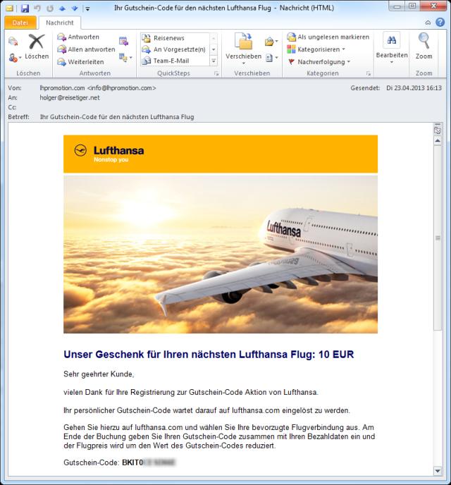 Lufthansa Gutschein kommt per Mail