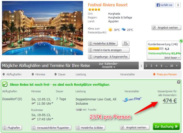 Festival Riviera Resort Hurghada Angebot