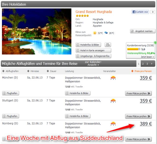 Grand Resort Hurghada mit Abflug aus München Stuttgart