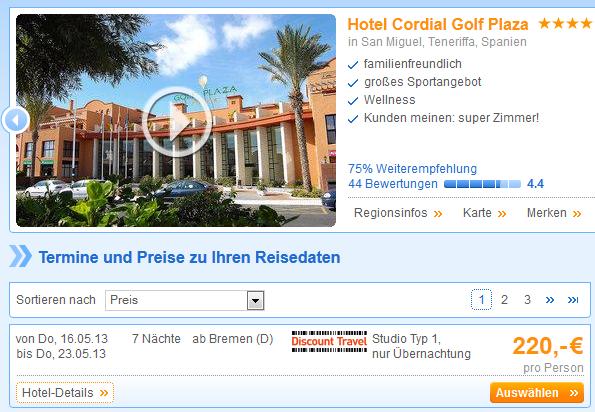 Hotel Cordial Golf Plaza Teneriffa Schnaeppchen