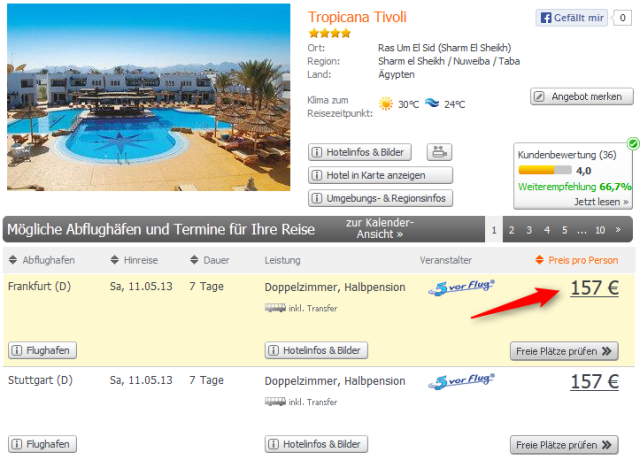 Tropicana-Tivoli Ägypten nur 157 Euro