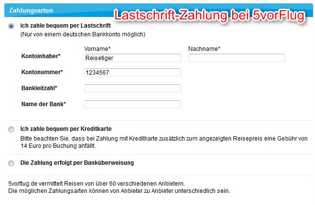 Zahlungsart Lastschrift 5vorflug