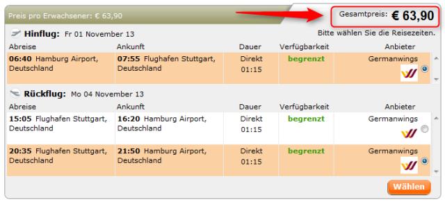 Hamburg-Stuttgart günstige Flüge