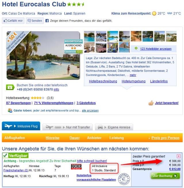 Lastminute Angebot Hotel Eurocalas Mallorca