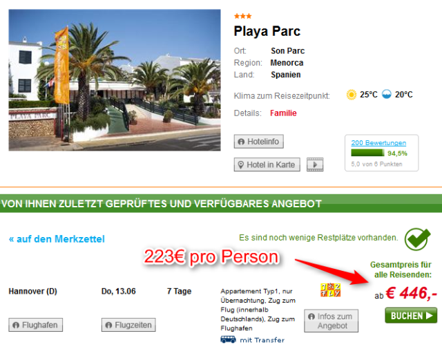 Lastminute Menorca Playa Parc