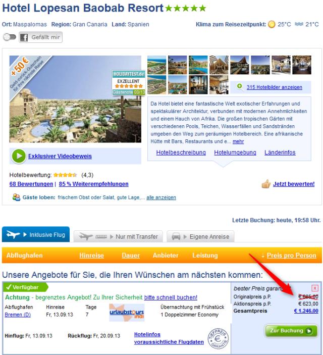 Angebot Hotel Lopesan Baobab Schnäppchen
