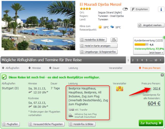 Angebot Tunesien Winter 2013 Djerba El Mouradi