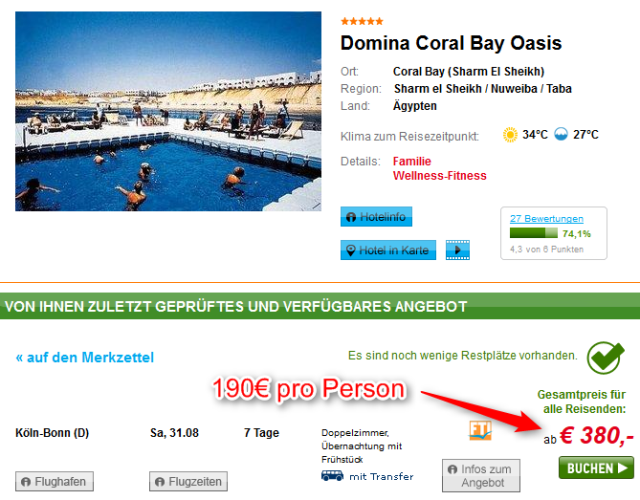 Hotel Domina Coral Bay Angebot