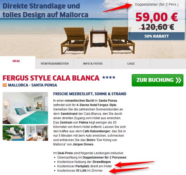 Mallorca-Deal Hotel Fergus Style zum halben Preis