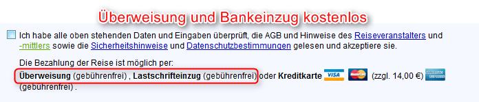 Zahlung per Bankeinzug kostenlos