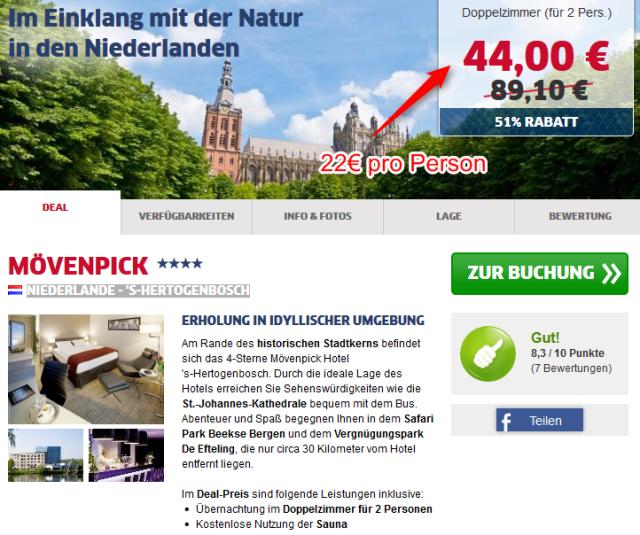 Moevenpick Holland Hotel Deal halber Preis