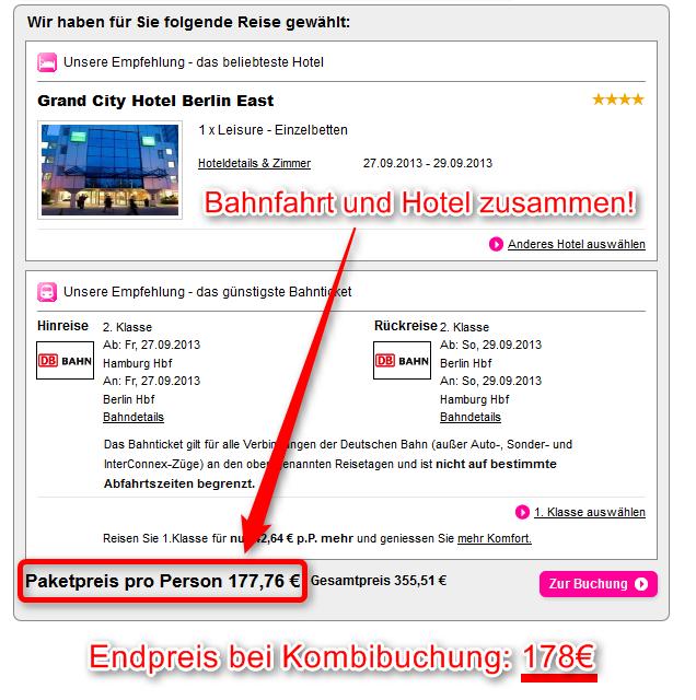 Bahn Pauschalreise Paketpreis