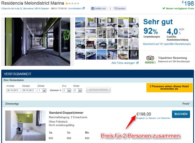 Gutes Hotel fuer Kurztrip Barcelona Melndistrict Marina