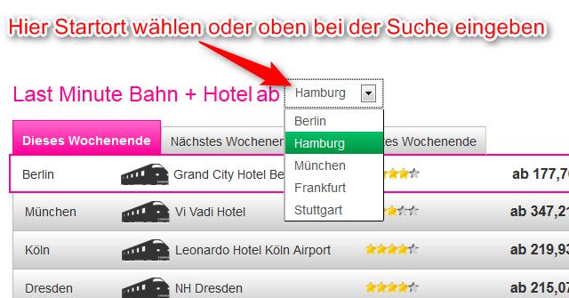 Hotel fuer Bahn-Hotel-Kombination auswaehlen