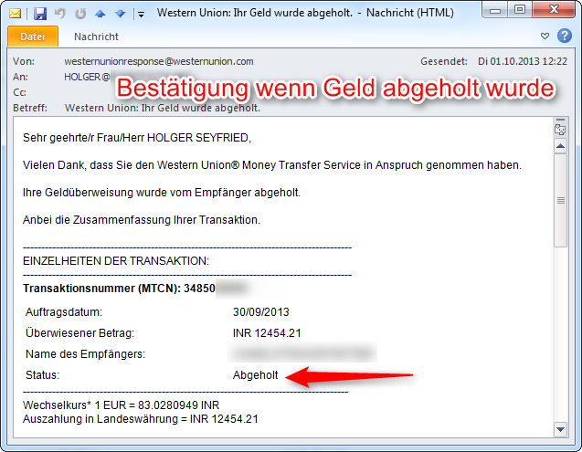 western union bei der post