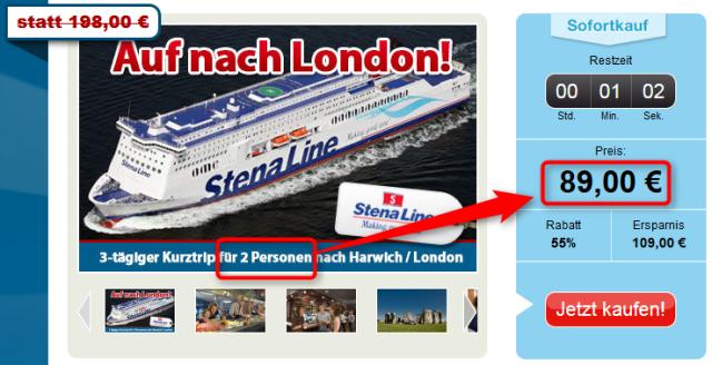Stenaline Minitrip London halber Preis