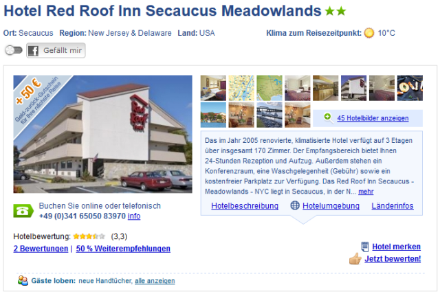 New York Hotel Red Roof Inn Secaucus