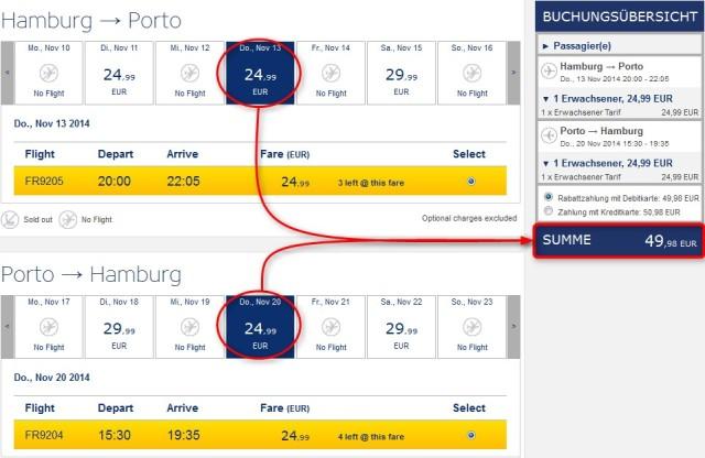 Porto-Flug-Angebot