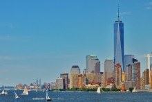 USA New York Manhatten Brooklyn Skyline River