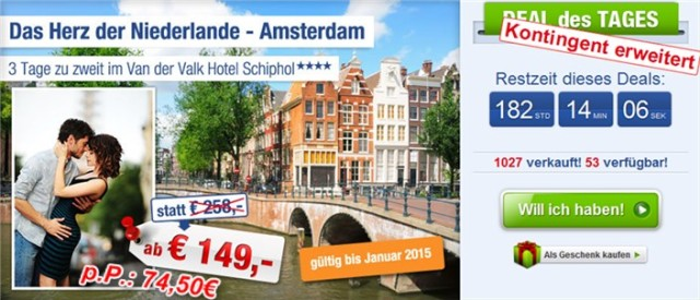 Ab in den Urlaub Deals Amsterdam Van de Valk