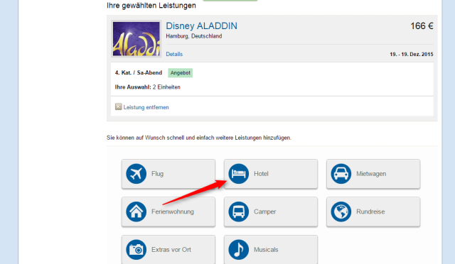 Disneys Aladdin Hotelauswahl