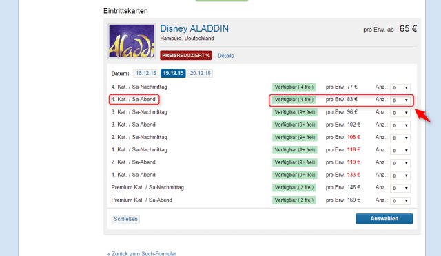 Disneys Aladdin Ticket