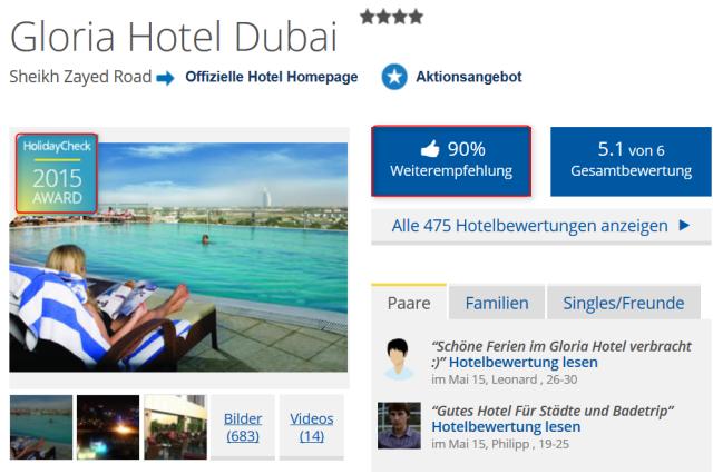 holidaycheck_gloriahotel_dubai_weiterempfehlungsrate