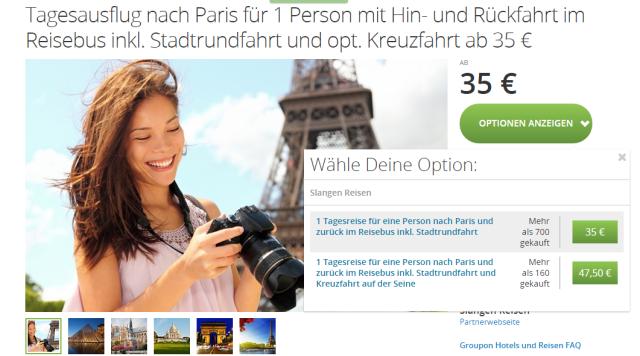 Angebotsuebersicht Groupon Tagesausflug Paris