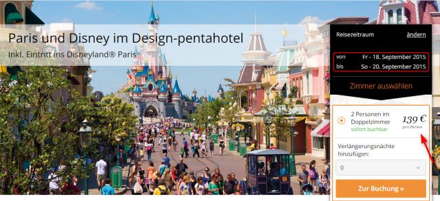 Angebotsuebersicht travador Disneyland Paris pentahotel