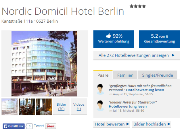 Bewertung Holiday Check Nordic Domicil Hotel Berlin