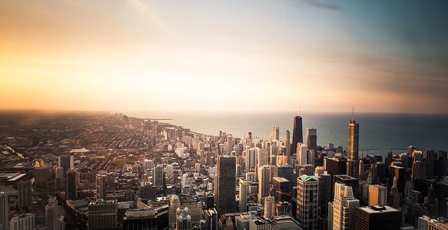 Chicago von oben Sonnenuntergang