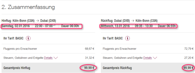 Preisuebersicht CGNDXB Germanwings