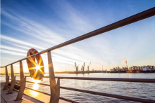 Deck Norwegian Blick Hamburg Sonnenuntergang
