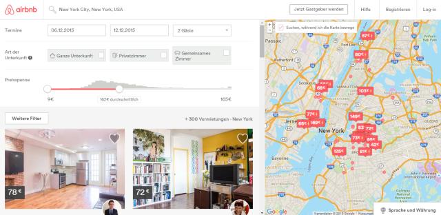 Airbnb Uebersicht NYC Dezember