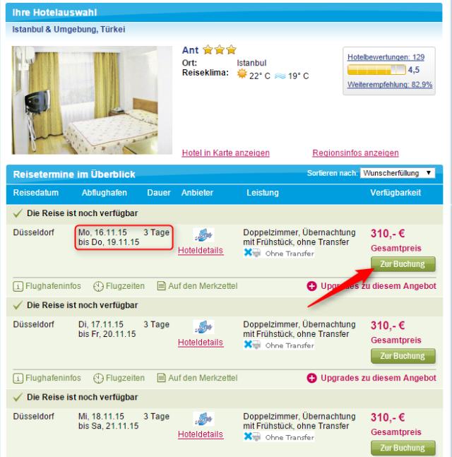 Preisuebersicht IST 5vF Ant Hotel